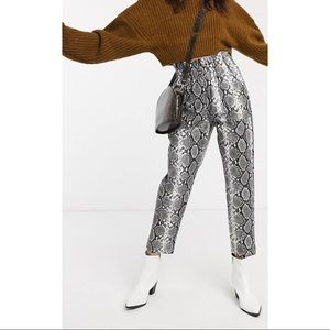 Leather Look Snake Print Pants